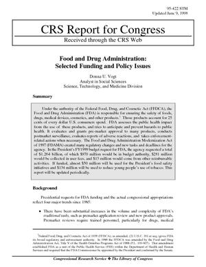Food and Drug Administration: Selected Funding and Policy Issues