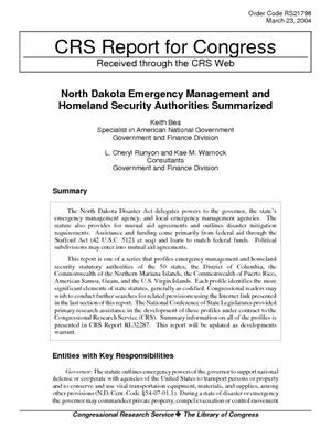 North Dakota Emergency Management and Homeland Security Statutory Authorities Summarized