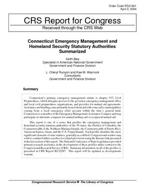 Connecticut Emergency Management and Homeland Security Statutory Authorities Summarized