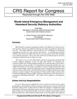 Rhode Island Emergency Management and Homeland Security Statutory Authorities Summarized