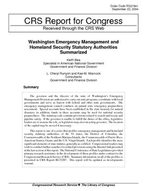 Washington Emergency Management and Homeland Security Statutory Authorities Summarized