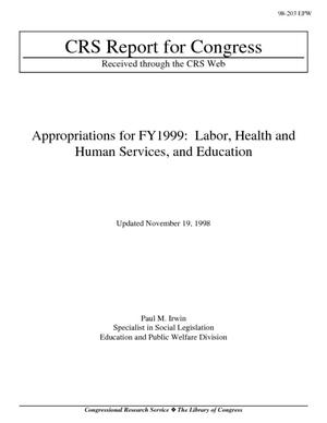 Appropriations for FY1999: Labor, Health and Human Services, and Education