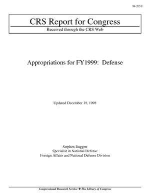 Appropriations for FY1999: Defense