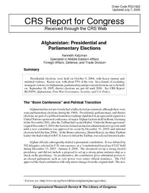 Afghanistan:  Presidential and Parliamentary Elections