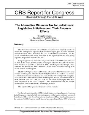The Alternative Minimum Tax for Individuals: Legislative Initiatives and Their Revenue Effects
