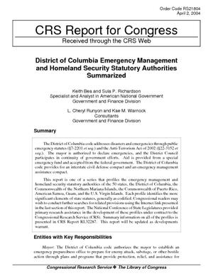 District of Columbia Emergency Management and Homeland Security Statutory Authorities Summarized