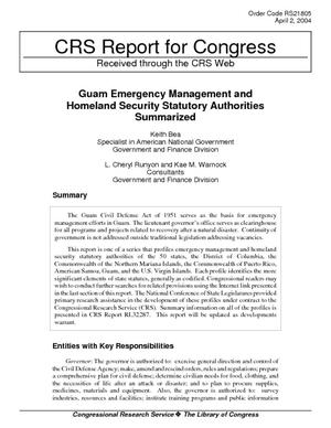 Guam Emergency Management and Homeland Security Statutory Authorities Summarized