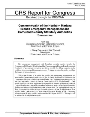 Commonwealth of the Northern Mariana Islands Emergency Management and Homeland Security Statutory Authorities Summarized