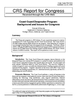Coast Guard Deepwater Program: Background and Issues for Congress