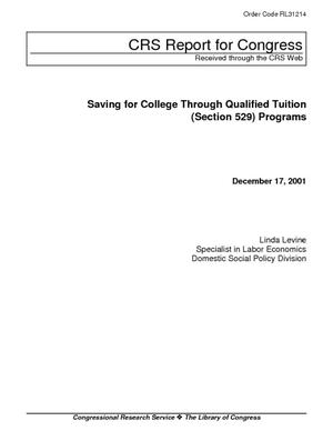 Saving for College Through Qualified Tuition (Section 529) Programs