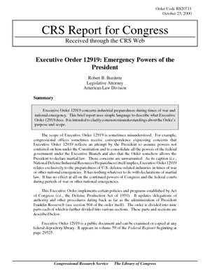 Executive Order 12919: Emergency Powers of the President