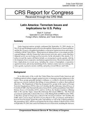 Latin America: Terrorism Issues and Implications for U.S. Policy