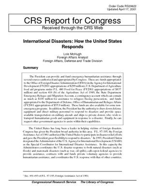 International Disasters: How the United States Responds
