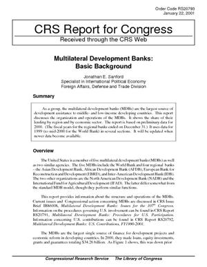 Multilateral Development Banks: Basic Background