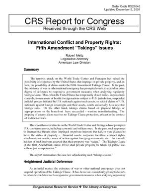 "International Conflict and Property Rights: Fifth Amendment ""Takings"" Issues"