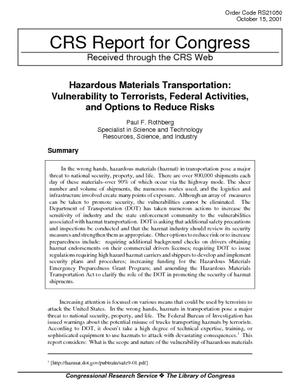 Hazardous Materials Transportation: Vulnerability to Terrorists, Federal Activities, and Options to Reduce Risks