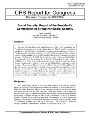 Social Security: Report of the President's Commission to Strengthen Social Security