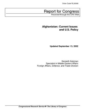 Afghanistan: Current Issues and U.S. Policy