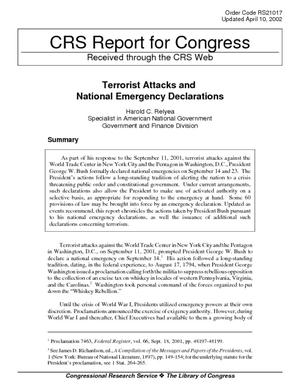 Terrorist Attacks and National Emergency Declaration