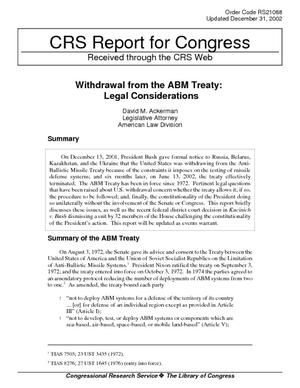 Withdrawal from the ABM Treaty: Legal Considerations