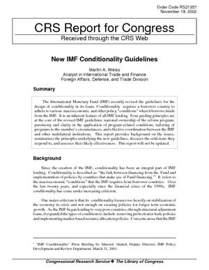New IMF Conditionality Guidelines