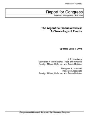 The Argentine Financial Crisis: A Chronology of Events