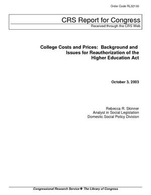 College Costs and Prices: Background and Issues for Reauthorization of the Higher Education Act