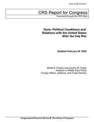 Syria: Political Conditions and Relations with the United States After the Iraq War