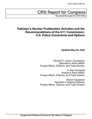 Pakistan's Nuclear Proliferation Activities and the Recommendations of the 9/11 Commission: U.S. Policy Constraints and Options