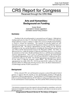 Arts and Humanities: Background on Funding