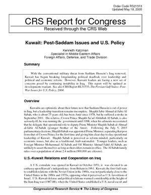 Kuwait:  Post-Saddam Issues and U.S. Policy