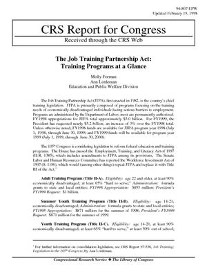 The Job Training Partnership Act: Training Programs at a Glance