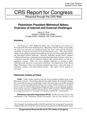 Palestinian President Mahmoud Abbas: Overview of Internal and External Challenges