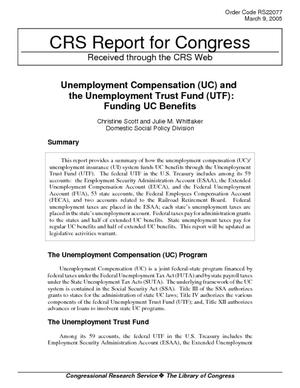 Unemployment Compensation (UC) and the Unemployment Trust Fund (UTF): Funding UC Benefits