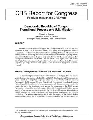 Democratic Republic of Congo: Transitional Process and U.N. Mission