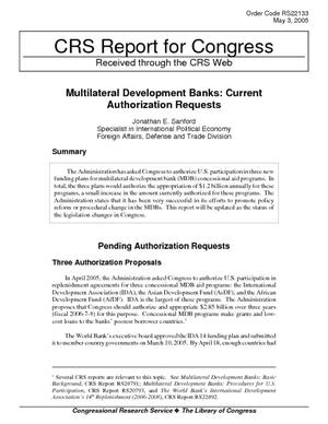 Multilateral Development Banks: Current Authorization Requests