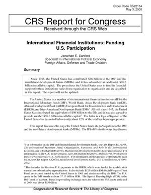 International Financial Institutions:  Funding U.S. Participation