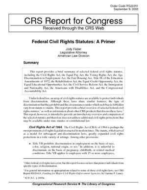 Federal Civil Rights Statutes: A Primer
