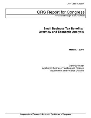 Small Business Tax Benefits: Overview and Economic Analysis