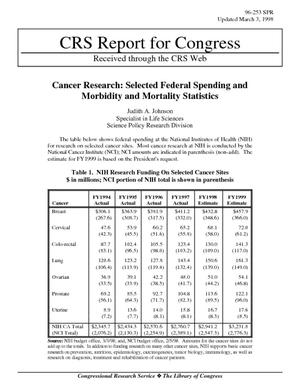 Cancer Research: Selected Federal Spending and Morbidity and Mortality Statistics