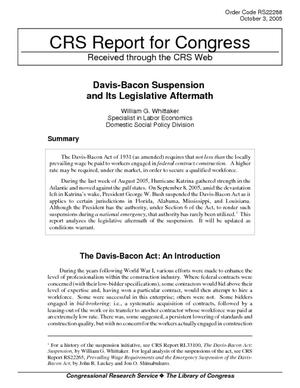Davis-Bacon Suspension and Its Legislative Aftermath