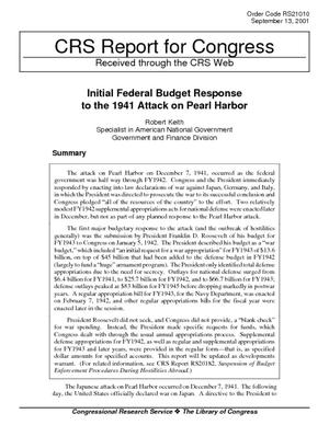 Initial Federal Budget Response to the 1941 Attack on Pearl Harbor