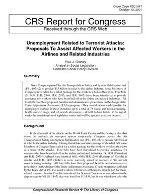 Unemployment Related to Terrorist Attacks: Proposals to Assist Affected Workers in the Airlines and Related Industries