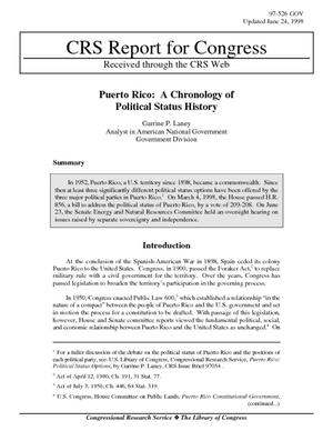Puerto Rico: A Chronology of Political Status History