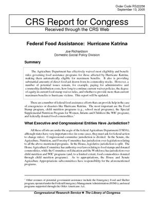 Federal Food Assistance: Hurricane Katrina
