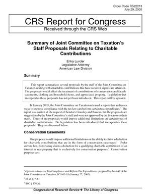 Summary of Joint Committee on Taxation's Staff Proposals Relating to Charitable Contributions