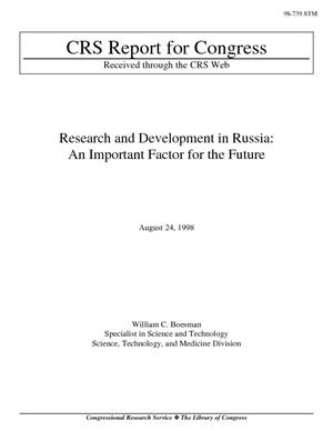 Research and Development in Russia: An Important Factor for the Future