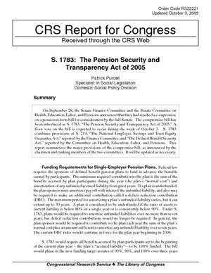 S. 1783: The Pension Security and Transparency Act of 2005