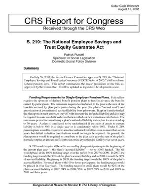 S. 219: The National Employee Savings and Trust Equity Guarantee Act