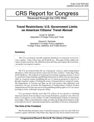 Travel Restrictions: U.S. Government Limits on American Citizens' Travel Abroad